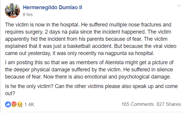 Facebook post claims Victim of Joaquin Montes' alleged bullying requires surgery