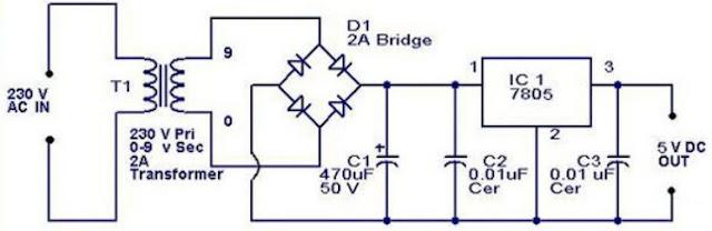 دائرة تنظيم جهد 5 فولت من 220 فولت بـ 7805