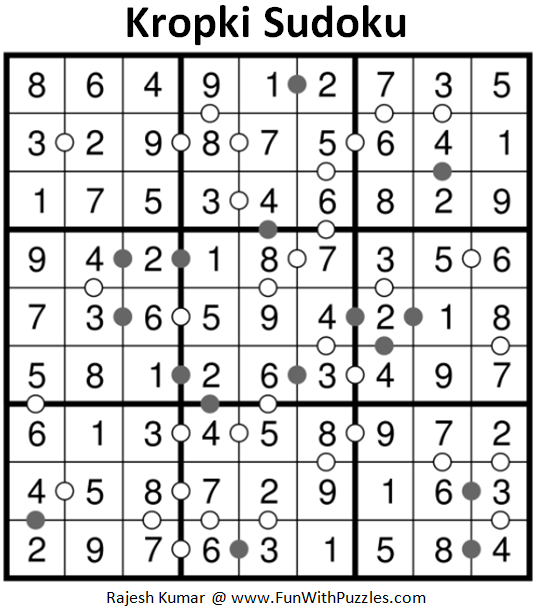 Kropki Sudoku Puzzles (Fun With Sudoku #218) Solution