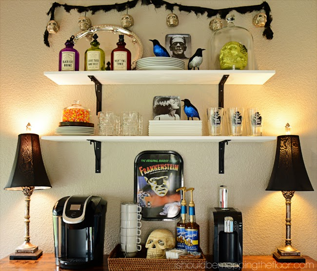 Halloween Coffee Bar with Spooktacular Halloween Decor
