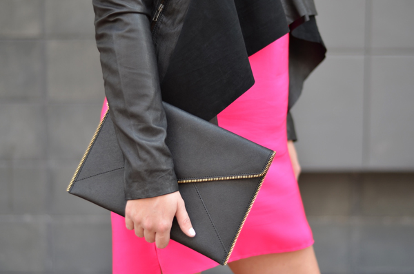 Rebecca Minkoff Leo Clutch in black and gold.