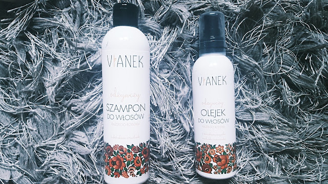 VIANEK-zestaw do włosów odżywczy szampon i olejek na włosach suchych i kręconych