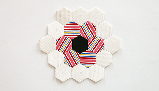 Hand Sewn EPP Hexagon Flower Block 10