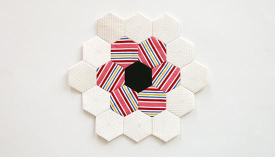 Hand Sewn EPP Hexagon Flower Block 10