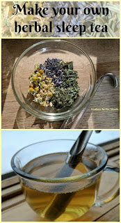 Herbal sleep tea, chamomile, lemon balm