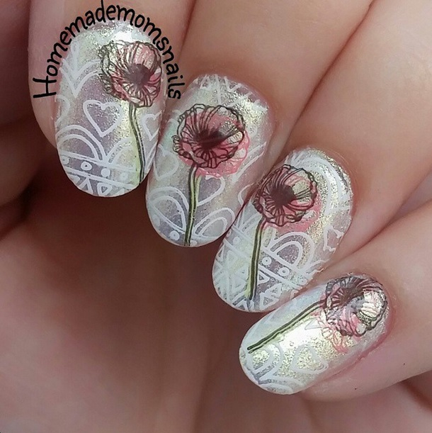 "Here is a swatch by @Homemademomsnails and this is ""I Found An Oyster Pearl"" worn alone with some stamping and nail art on it."