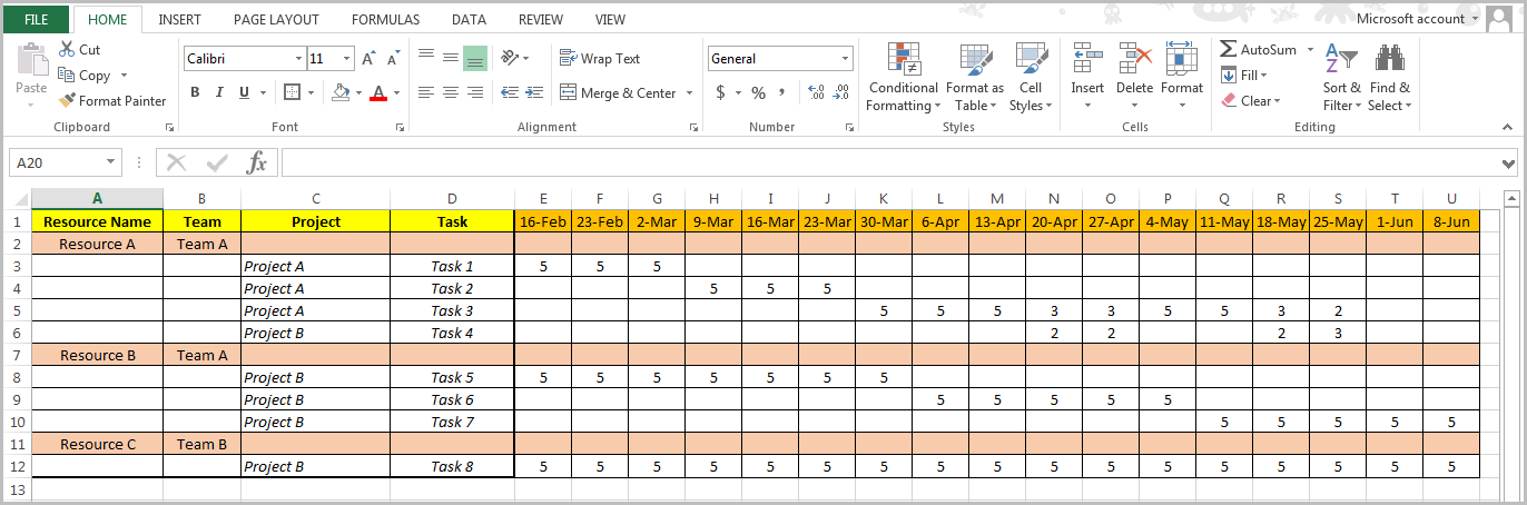 Excel Based Resource Management