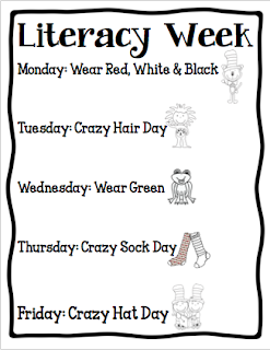 Literacy Week calendar of events, Celebrate each day with fun activities wear red, white and black day, crazy hair day, wear green day, crazy sock day, and crazy hat day.