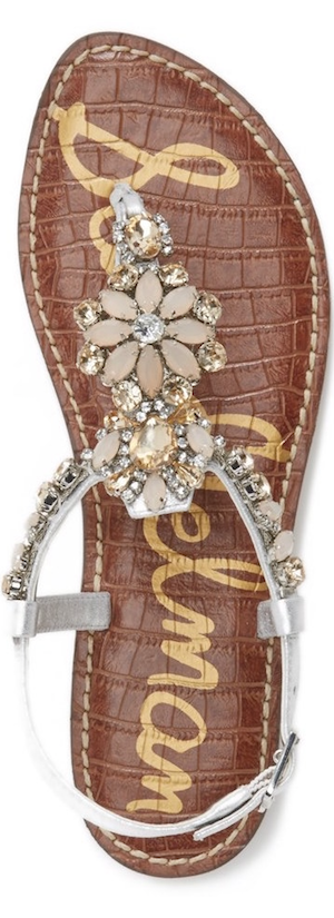 Sam Edelman 'Garen' Embellished Leather Sandal  soft silver