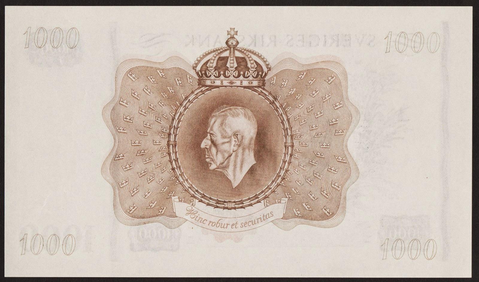 Sweden Banknotes 1000 Kronor banknote, Gustav V King of Sweden