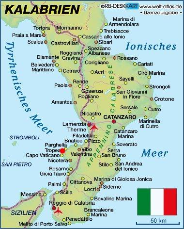 Regione Calabria Cartina Politica.Mappa Della Citta Di Provincia Regionale Italia Cartina Politica Della Calabria