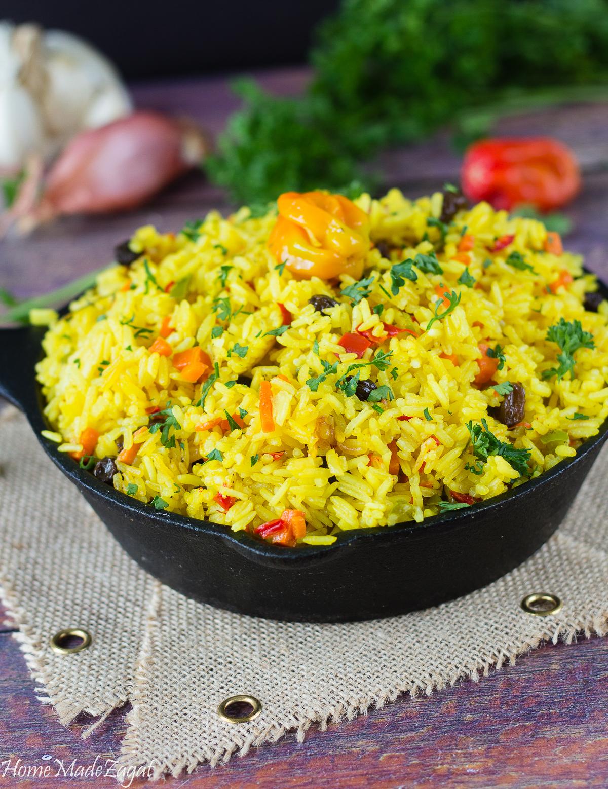 Yellow Saffron Turmeric Rice Caribbean Style