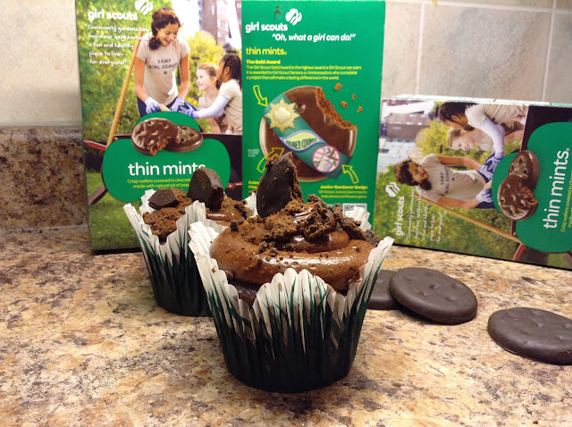 Girl Scout Thin Mints Cupcake with Whipped Ganache #recipe #girlscoutcookies #baking