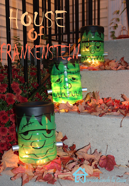 Gallon water bottles respurposed as frankenstein luminaries