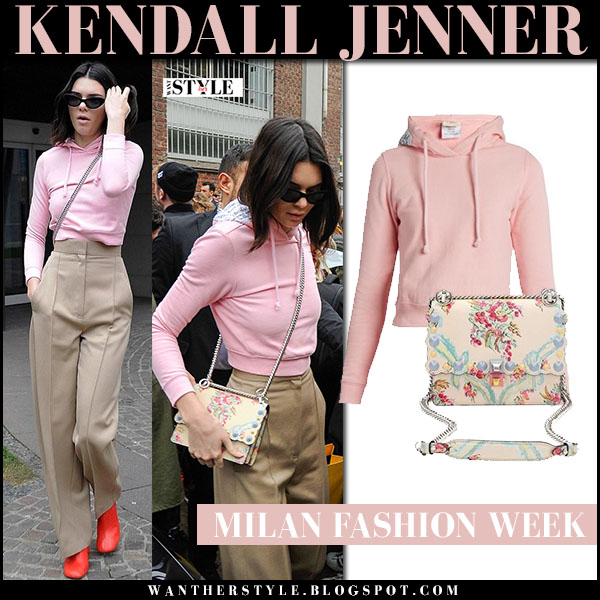 Kendall Jenner in pink sweatshirt vetemens, camel pants and floral print bag fendi kan I aubusson milan fashion week what she wore