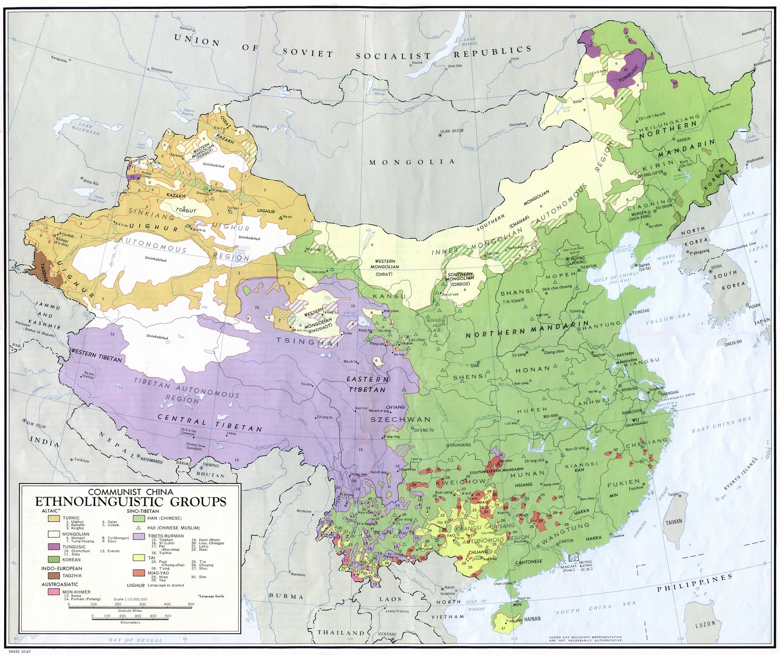 Ethnolinguistic groups of China (1967)
