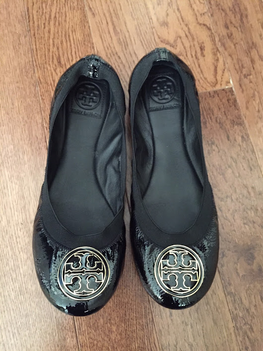 Beauty Babble: First Impressions Review: Tory Burch Caroline Black Patent Leather Ballet Flats