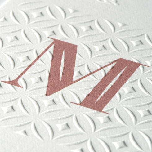 Embossed NEENAH Cotton Paper with M monogram