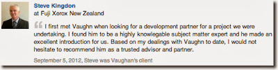 I first met Vaughn when looking for a development partner for a project we were undertaking. I found him to be a highly knowlegable subject matter expert and he made an excellent introduction for us. Based on my dealings with Vaughn to date, I would not hesitate to recommend him as a trusted advisor and partner.