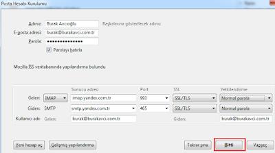 Mozilla Thunderbirdde Yandex Mail Yapılandırma 15