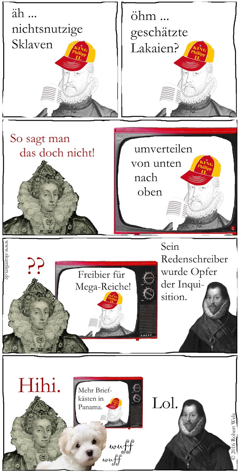 """Philipp II. sollte sich besser einen neuen Redenschreiber suchen. Seine selbst verfassten Texte zu Briefkasten-Firmen in Panama überzeugen weder die Königin von England noch """"ihren"""" Piraten. Und sogar der Malteser Hundewelpe schaut ganz traurig."""