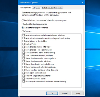 Cara disable visual effects windows 10