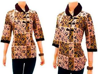 20+ Contoh Model Kemeja Batik Wanita Kombinasi Modern 2018