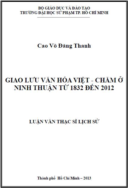 Giao lưu văn hóa Việt - Chăm ở Ninh Thuận từ 1832 đến 2012