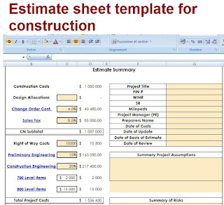 Exemple of estimate of construction in excel with details.