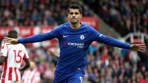 Chelsea's Alvaro Morata, who has scored in each of his last two games, netted a hat-trick against Stoke in September