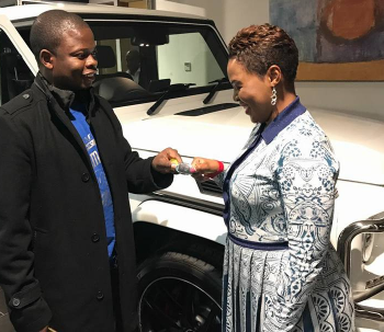 Photos: Malawian pastor, Prophet Bushiri, buys his wife a G-wagon as her birthday present, weeks after she gave him a 2016 Rolls Royce