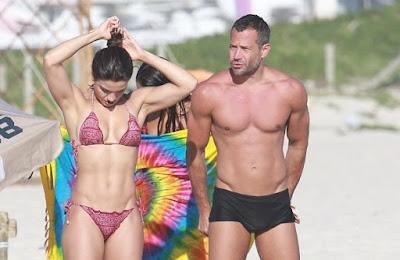 Malvino Salvador e Kyra Gracie mostram boa forma em dia de praia