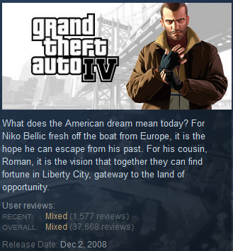 Grand Theft Auto IV Steam Powered user reviews PC version