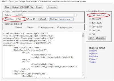 Configuración para exportar a dxf