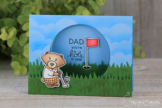 Golf Card by Juliana Michaels | Winston's Tee Time | Golfing Bear Stamp set by Newton's Nook Designs