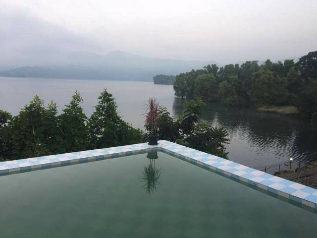 Swimming pool view panshet farmhouse