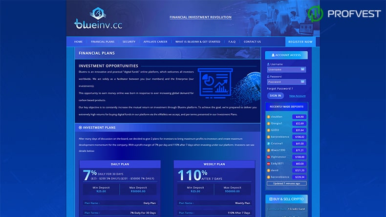 Blue Invest Corporation INC LTD обзор и отзывы HYIP-проекта