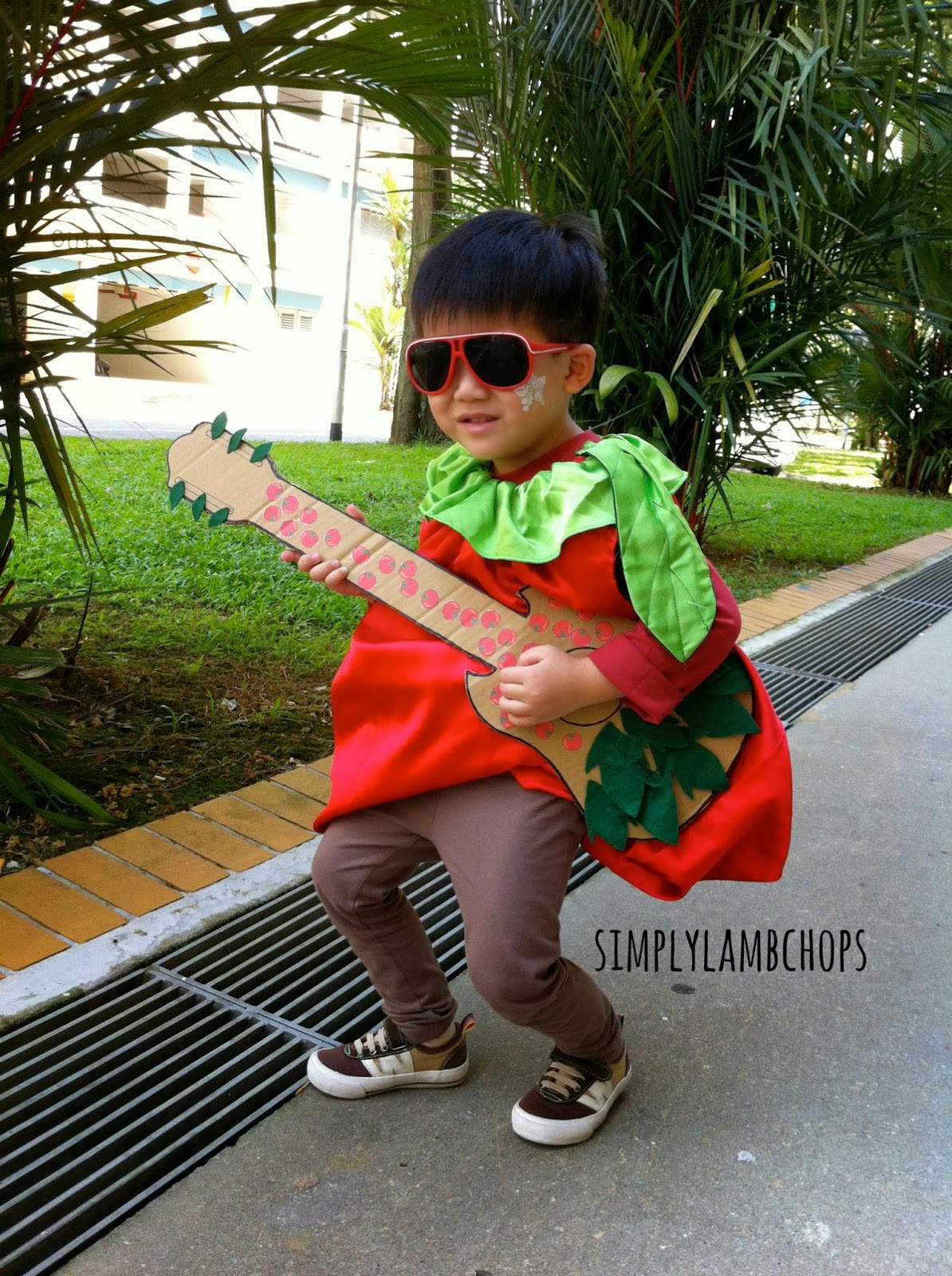 Homemade tomato rockstar child costume by Simply Lambchops
