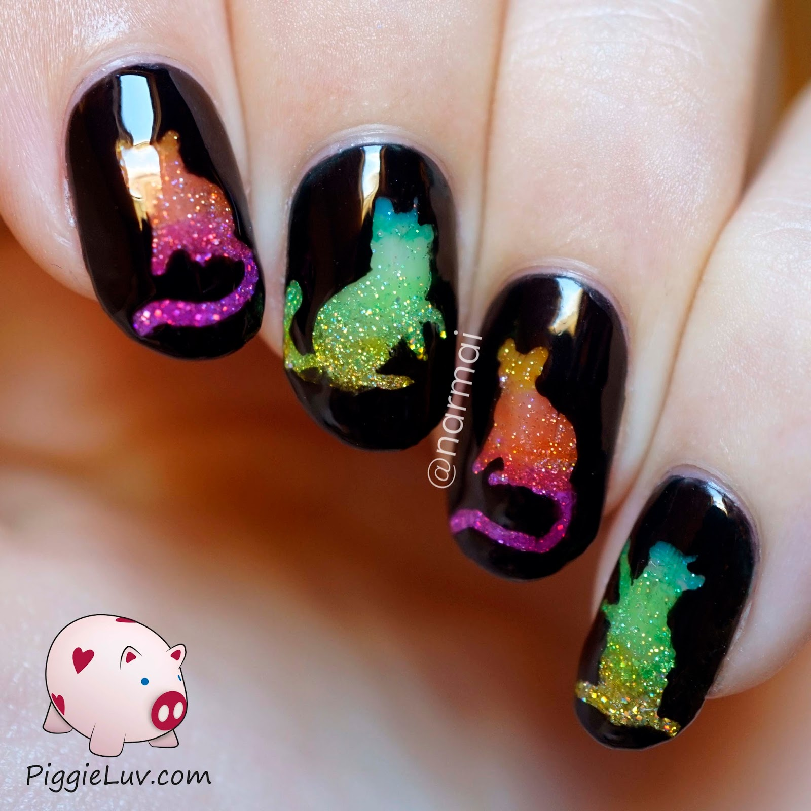 PiggieLuv: Glitter rainbow cats nail art with OPI Color Paints