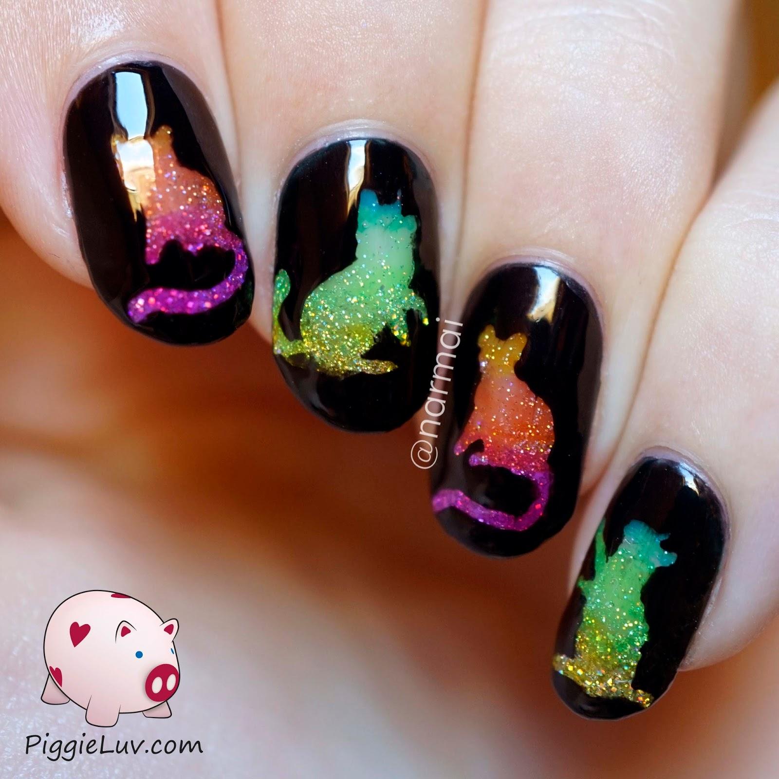 Piggieluv Rainbow Bubbles Nail Art: PiggieLuv: Glitter Rainbow Cats Nail Art With OPI Color Paints
