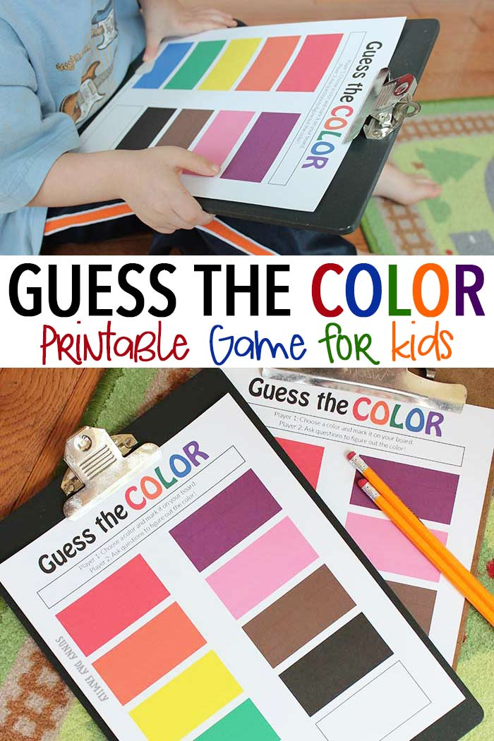 A super fun guessing and color game for kids inspired by the new Eric Carle book What's Your Favorite Color! This free printable game makes a perfect color activity for preschoolers or a fun and easy road trip activity!
