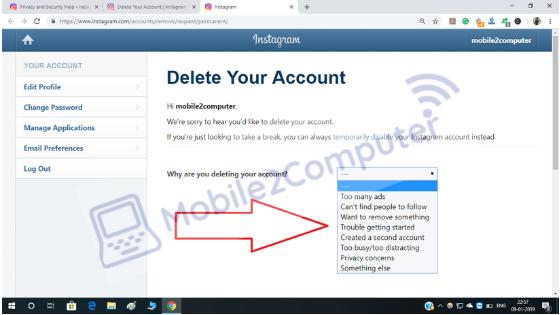 Deleting Instagram Account forever