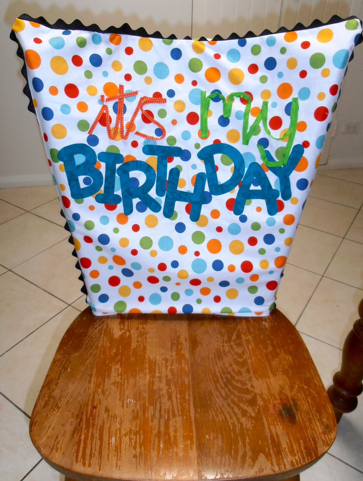 Giggleberry Creations!: It's My Birthday chair cover!