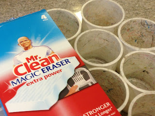 Mr. clean Magic erasers magically erase all the crayons and pencil marks from your classroom containers.