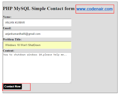 php mysql contact form