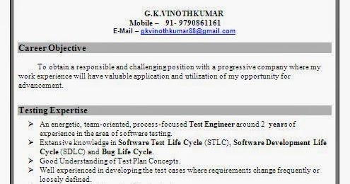 Software test engineer resume format for Sample resume for software test engineer with experience