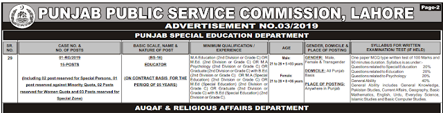 Educators Jobs Announced By PPSC 2019 in Special Education Department For Male-Female