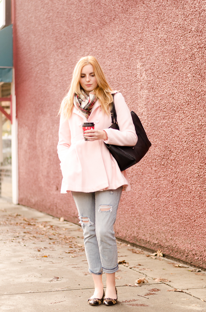 How to Style a Pink Pea-coat
