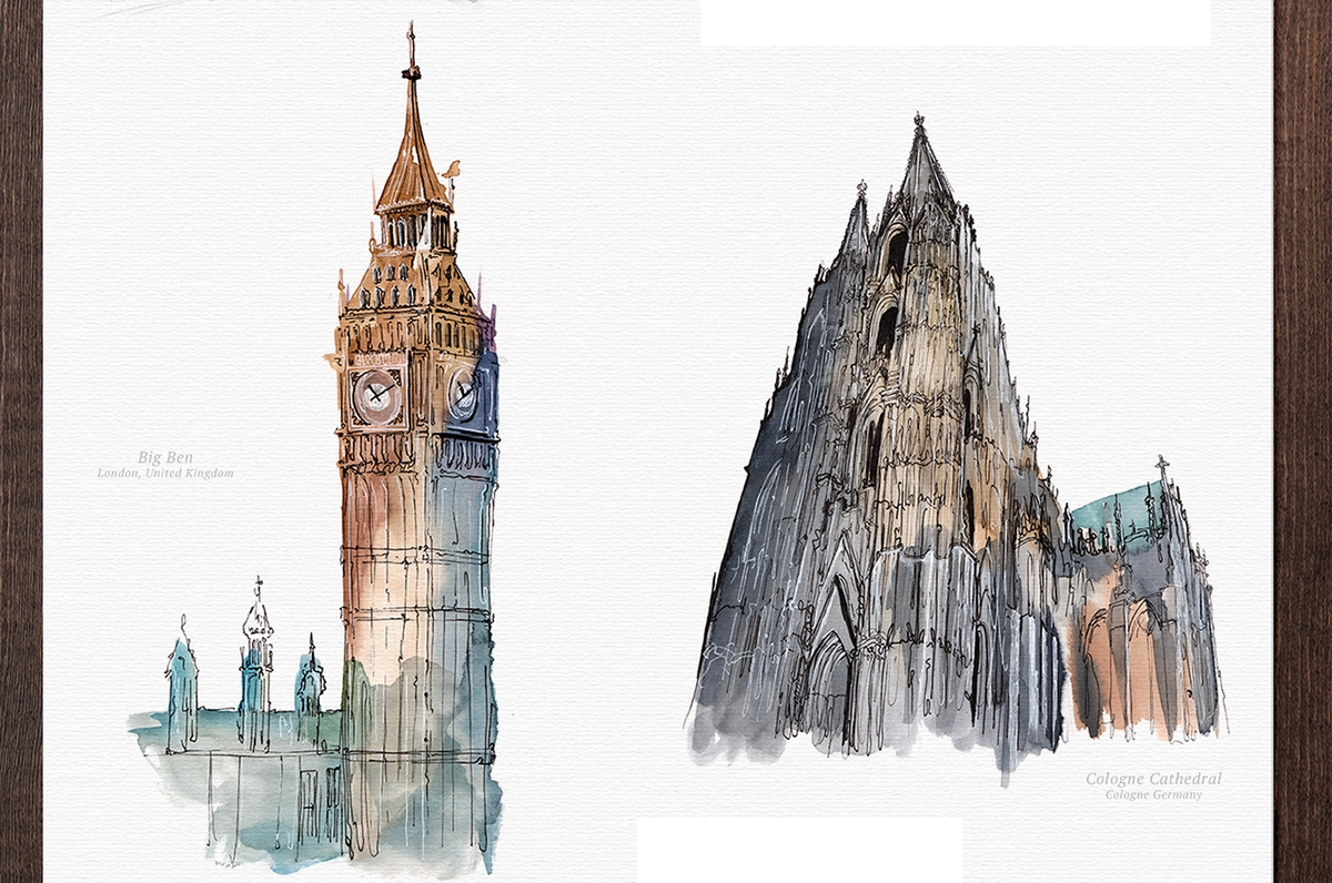 02-Big-Ben-Cologne-Cathedral-Mucahit-Gayiran-Architectural-Landmarks-Watercolor-Paintings-www-designstack-co
