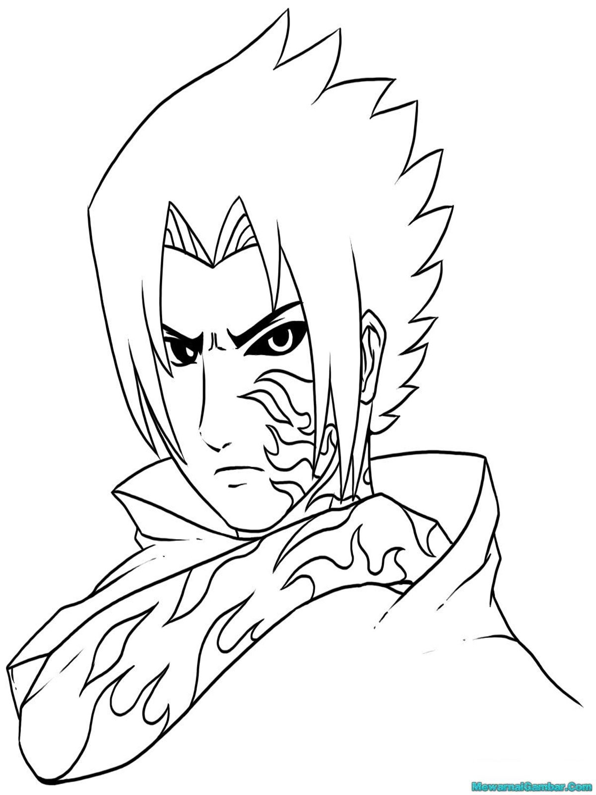 Gambar Pensil Naruto Sasuke Black And White
